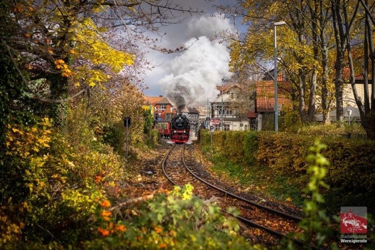 Harzer Schmalspurbahn am herbstklichen Westerntor
