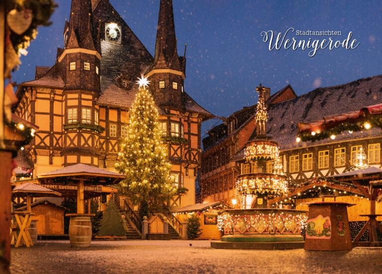 Postkarte Weihnachtsmarkt Wernigerode mit Rathaus