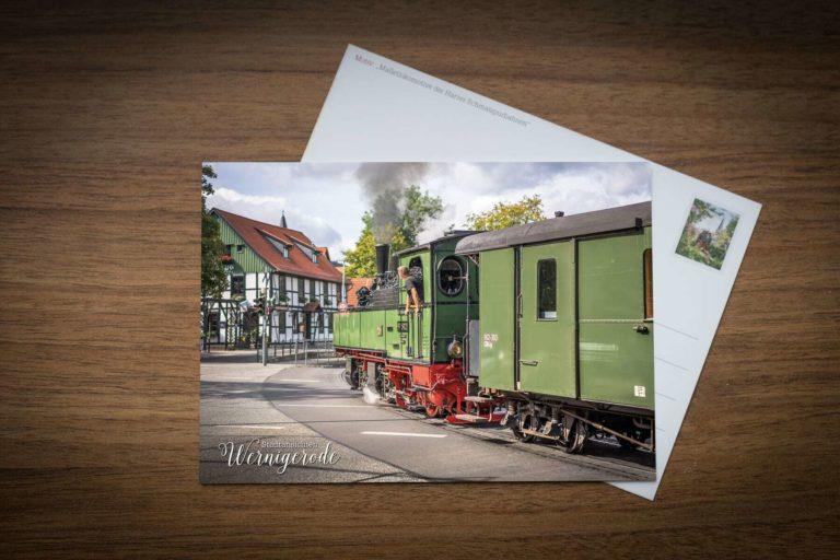 Postkarte Malletlokomotive der Harzer Schmalspurbahnen