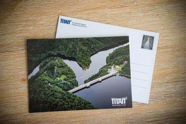 Hängebrücke TitanRT - Luftaufnahme Stausee   Postkarte Stadtansichten Harzdrenalin