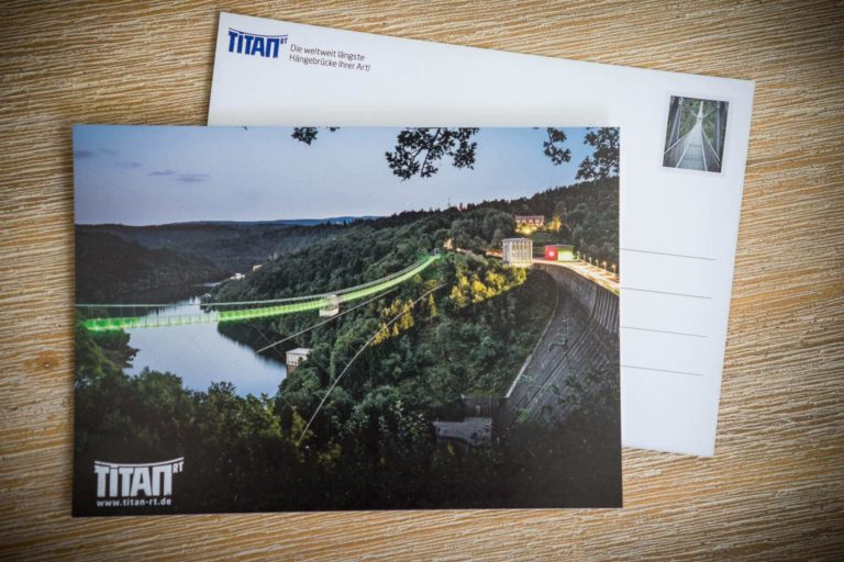 Hängebrücke Titan RT - Nachtaufnahme   Postkarte Stadtansichten Harzdrenalin